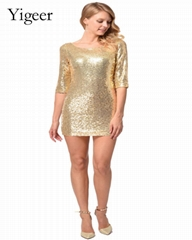 1/2 Sleeve Beaded Sequin Shift Prom Pencil Dress