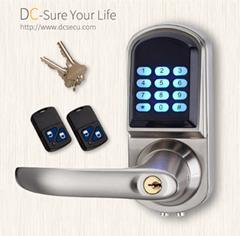 Keyless Entry Electronic Door Locks Remote Controller Code Lever Handle Door Loc