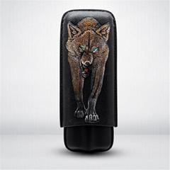 浮雕彩印雪狼便携式两支装雪茄保湿管