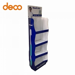 Portable Installation Cardboard 3-Tiers Display Rack for Beverage Sale