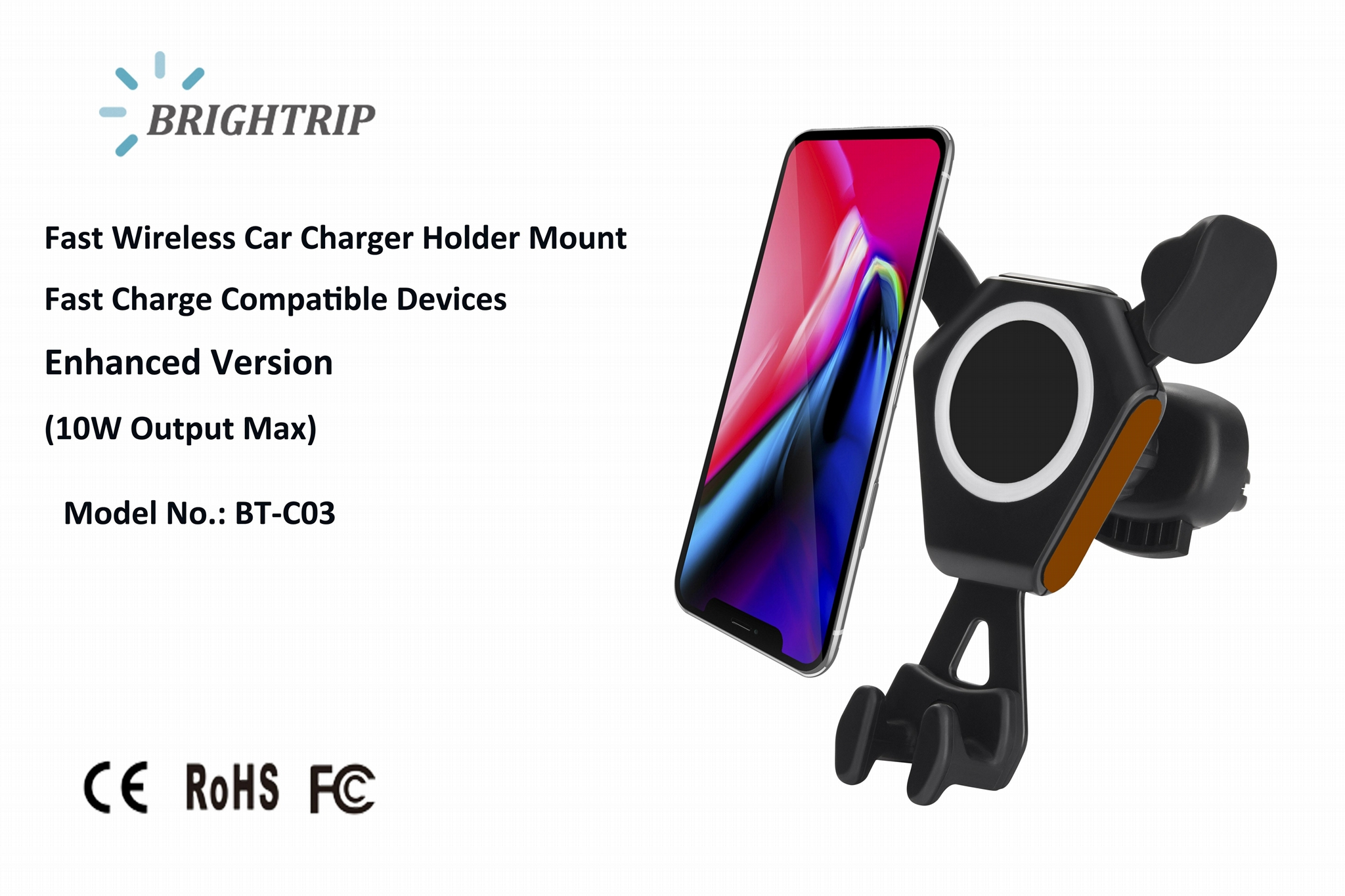 QI Wireless Car Charger (10W Output Max, upgraded version) 1