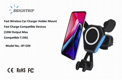 QI Wireless Car Charger (10W compatible 7.5W)  Output Max, upgraded version)