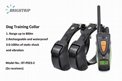Amazon Top Quality 800M Waterproof Rechargeable LCD Dog Training Collar 2 Collar