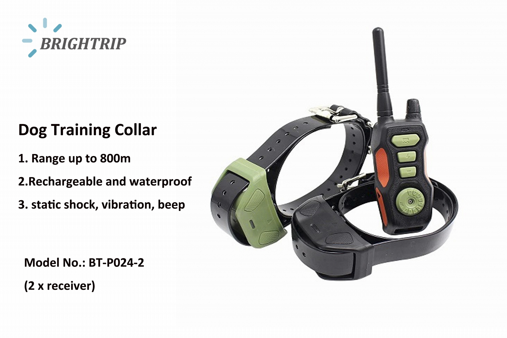 Remote Pet Training Collar  Waterproof  With Two Collars  1