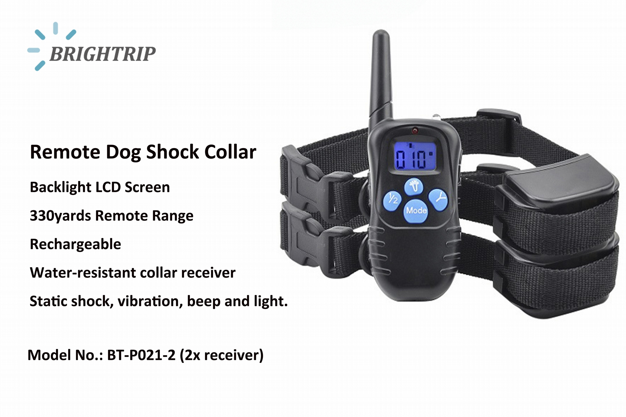 Amazon Best Seller Remote Dog Shock Collar with 2 Collars BT-P021-2 1