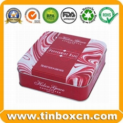 Square Food Tin Boxes Packaging Biscuit Tin Cans Cookie Tins