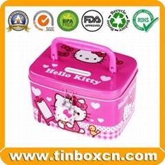 Hello Kitty Money Tin Box with Plastic Handle Coin Bank