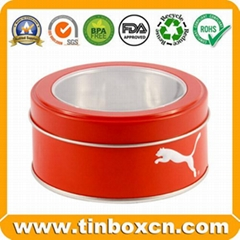 Round Metal Box Window Tin Can for Food Chocolate Candy Biscuits Cookies