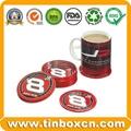 Round Tin Coaster for Coffee Metal Tin Pad with Cork