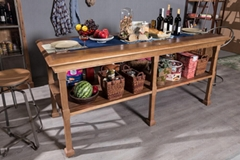 Solid wood double deck platform table
