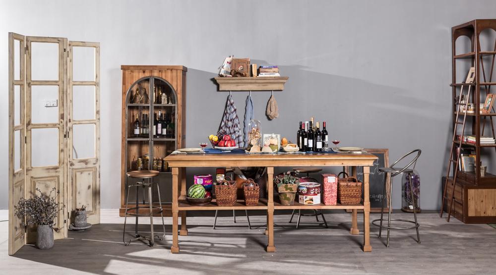 Solid wood double deck platform table 3