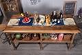 Solid wood double deck platform table 4