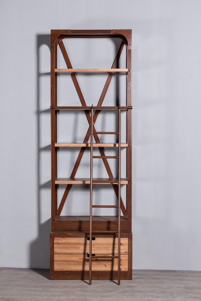 工业复古实木铁艺书架 2