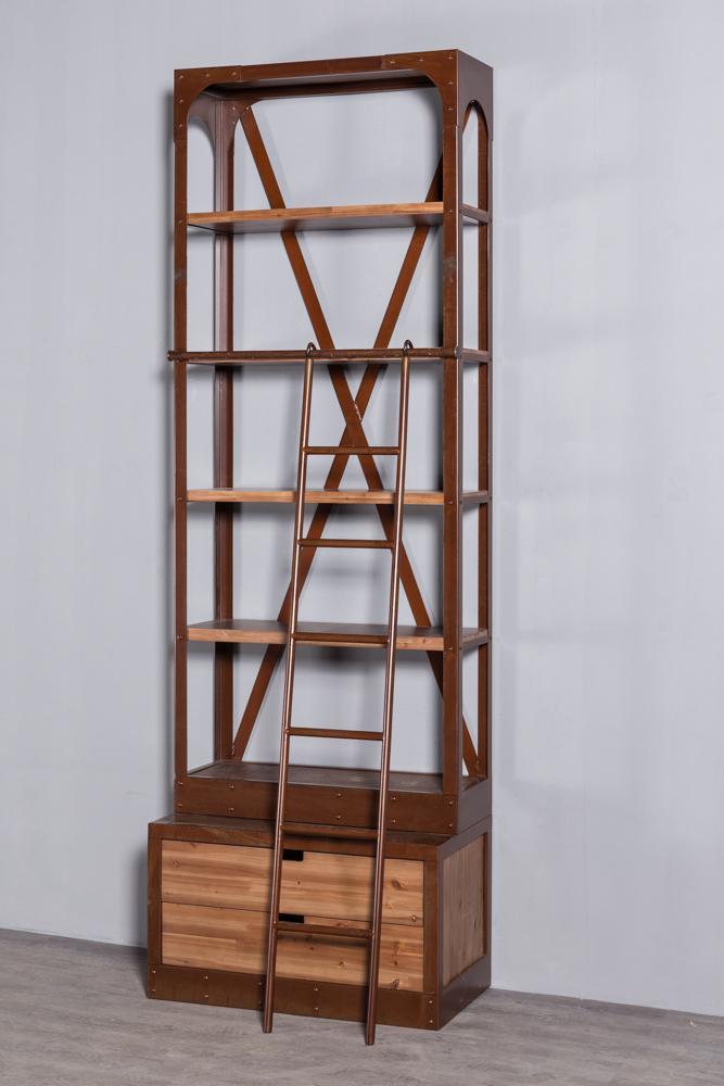 工业复古实木铁艺书架 4
