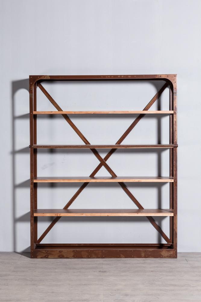 工业复古实木铁艺书架2 3