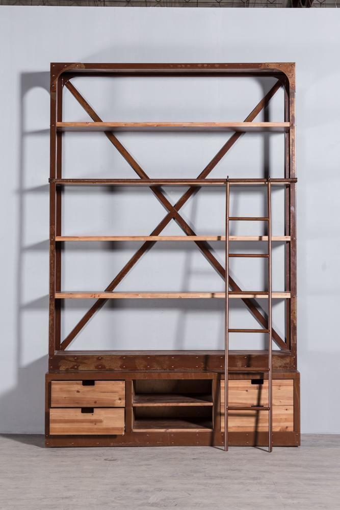 工业复古实木铁艺书架2 6