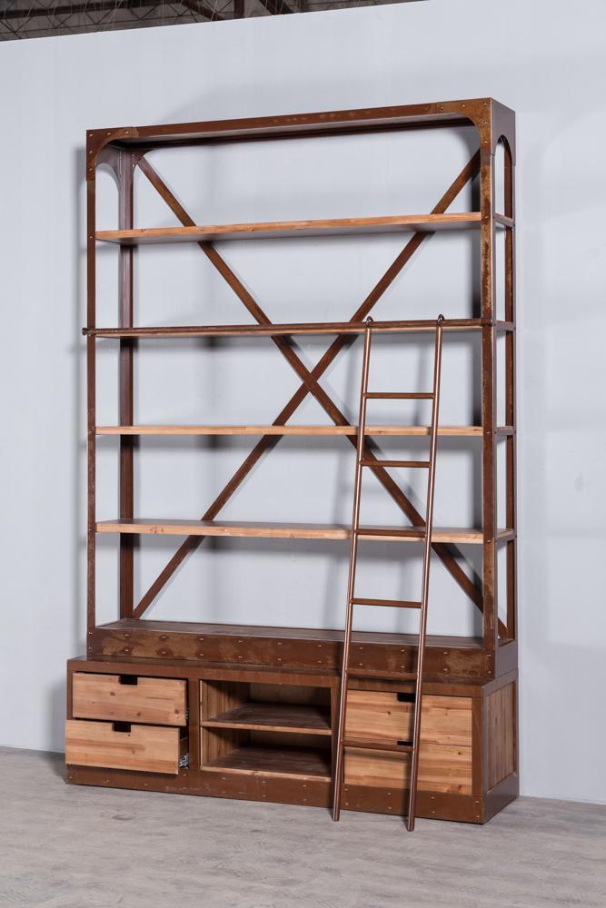 工业复古实木铁艺书架2 9