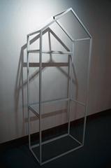 屋子形狀服裝展示架高架牆上展示架