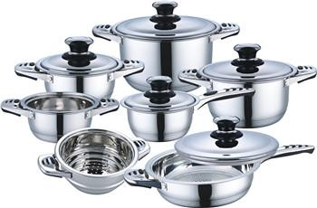 12pcs high quality stainless steel cookware set with induction bottom 1
