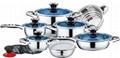 16pcs blue glass lids stainless steel