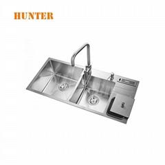 Undermount Kitchen Sink Drainer 1.5 One Half Bowl Rectangular Satin Steel