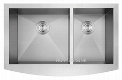 Undermount Kitchen Sink Drainer 2 Bowl Rectangular Satin Steel
