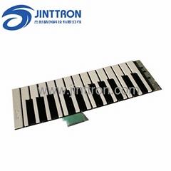 Electronic piano membrane circuit and plastic, metal enclosure