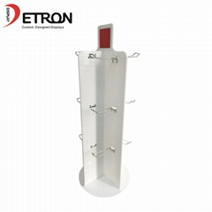 Supermarket retail product hanging rotating acrylic display stand