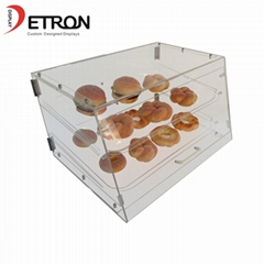 Customized two tiers clear acrylic bread cake display stand