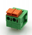 Spring System Terminal Block with 300V Voltage, 15A Current, and 14 to 24AWG