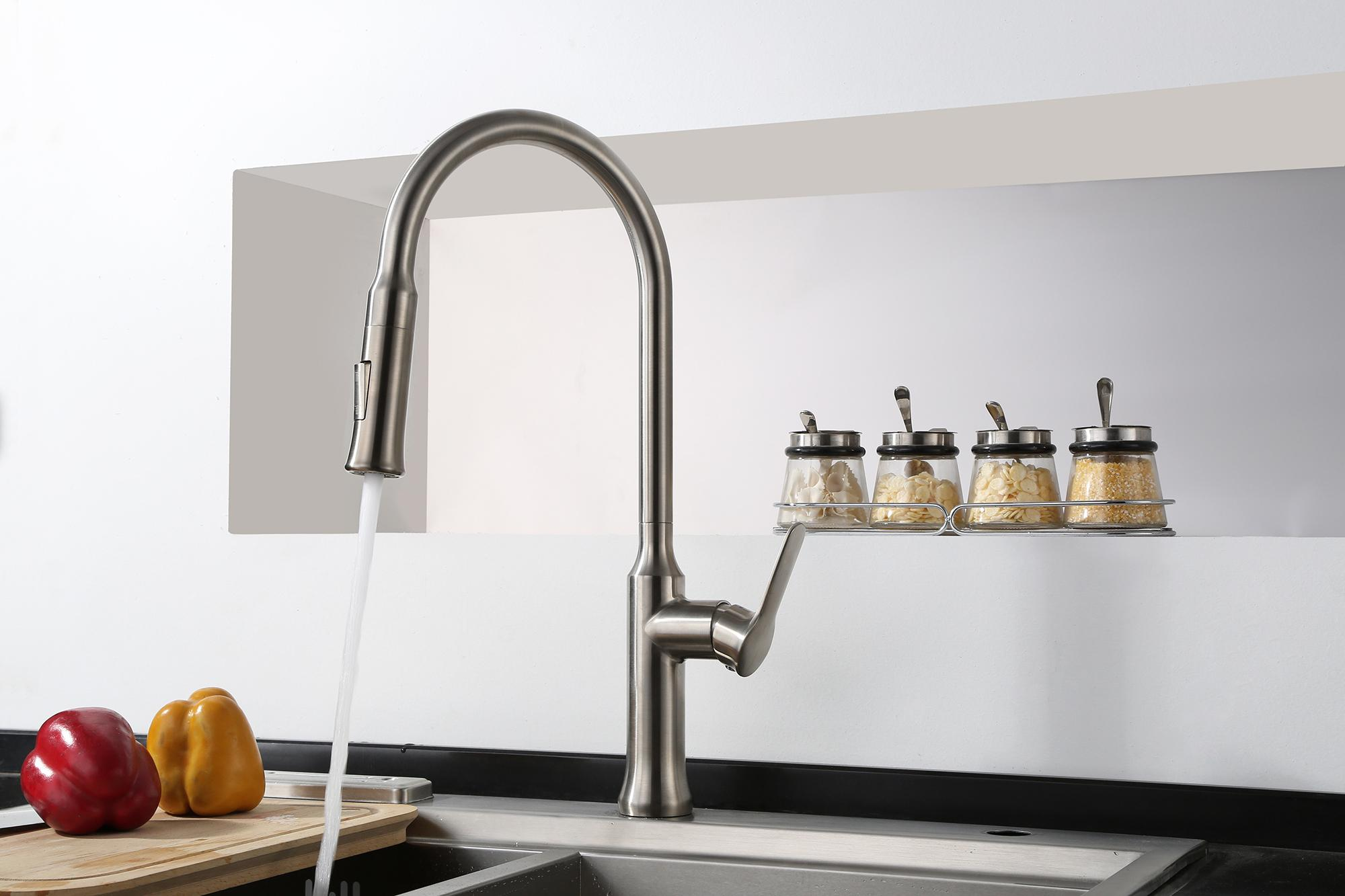 New Style Pull Out Kitchen Faucet Modern Shower And Water Ways Kitchen Taps 2