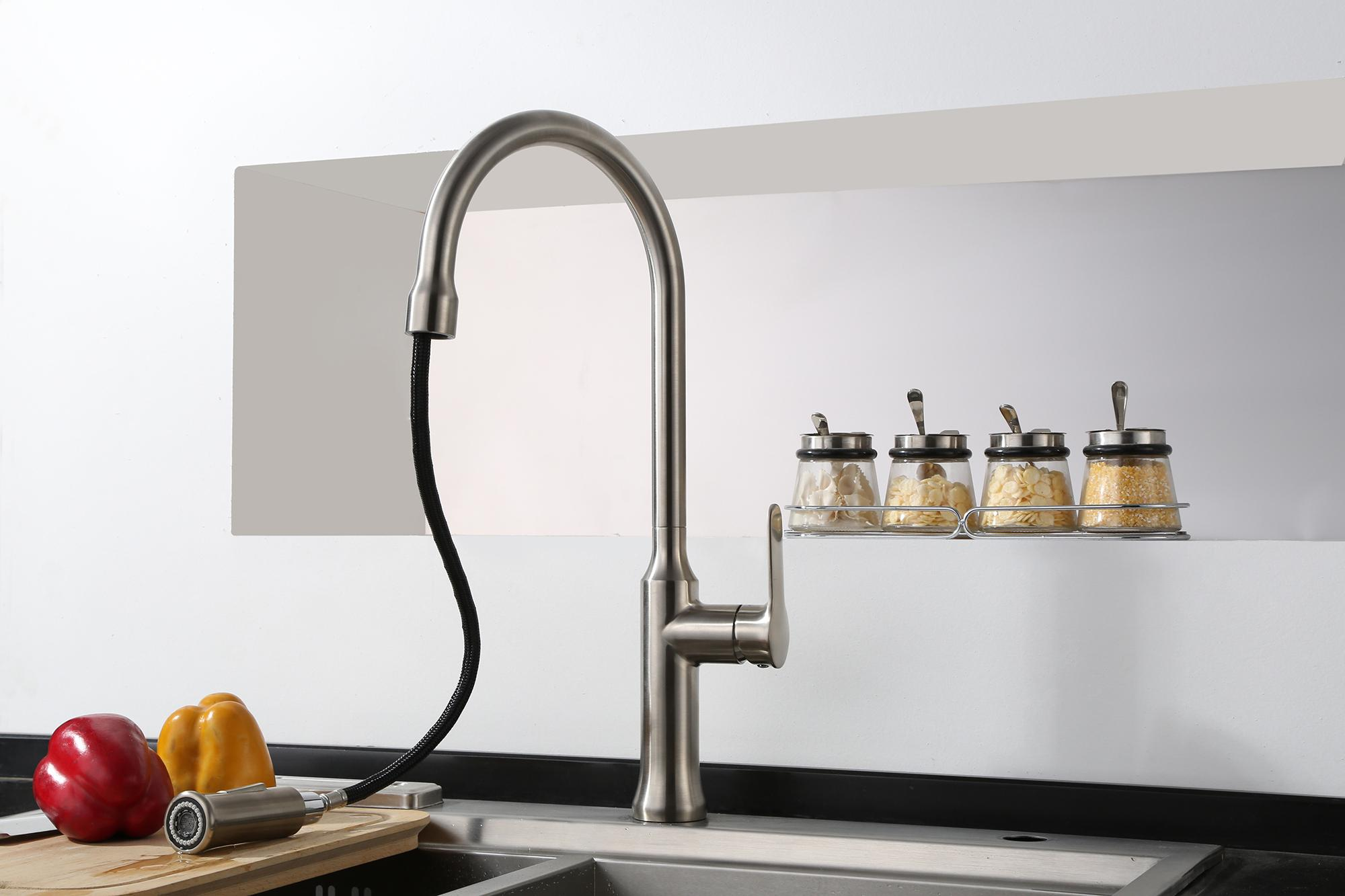 New Style Pull Out Kitchen Faucet Modern Shower And Water Ways Kitchen Taps 4