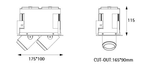 Artdon 10W Double Head Square Down Light AT-LD1006S-L2 2