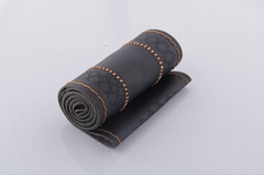 High quality genuine leather threading sewing auto steering wheel cover