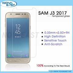 2.5D Utra Clear full transparent tempered glass screen protector for Samsung J3