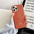 Brand Hermes leather case with logo for iphone 12 pro max 11 pro max xs max 7 8