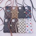 Louis Vuitton phone case with card holder and belt for iphone 13 pro max 12 pro