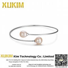 Xukim KPB001 925 Silver Pearl Bangles Bracelets for Women
