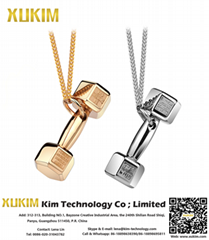 Xukim SSN002 Hip Hop Custom Name Dumbbell Necklace