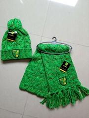 Knit Acrylic Jacquard Football Soccer Sport Fans Winter Scarf Shawls with Log