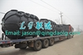 Pneumatic rubber fender with chain and tire net