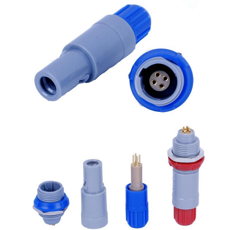 单定位4针塑料头推拉自锁连接器 1