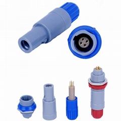 单定位4针塑料头推拉自锁连接器