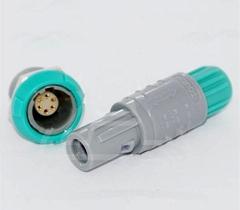 塑料头推拉自锁连接器6针40度医疗连接器