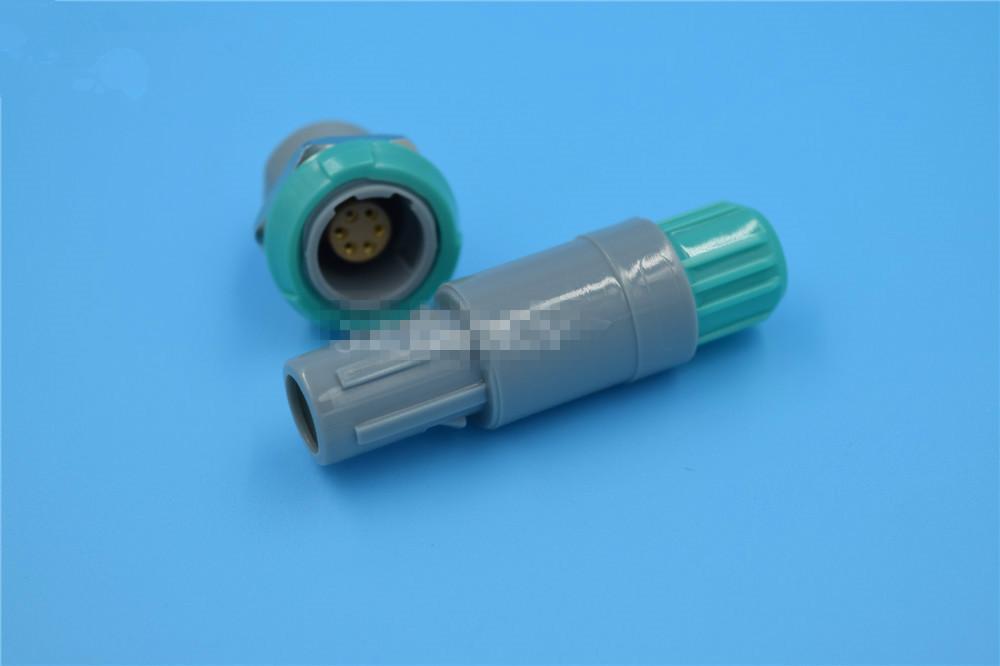 塑料头推拉自锁连接器医疗连接器6针60度 1