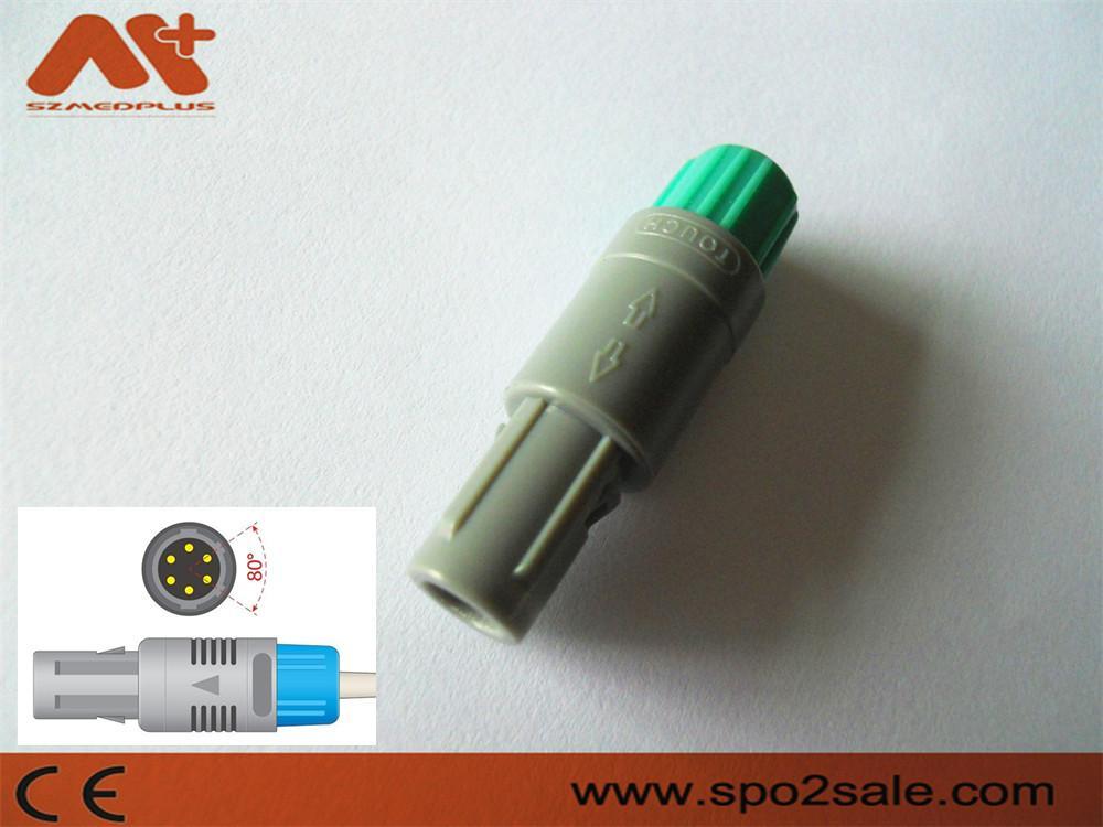 塑料头推拉自锁连接器医疗连接器6针80度 1