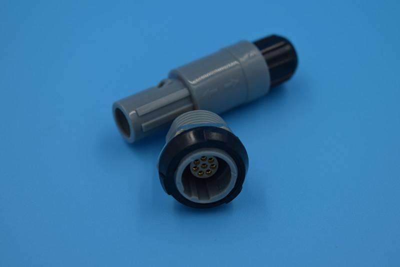 7针塑料头推拉自锁连接器医疗连接器双定位40度 1