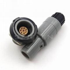 单定位8针塑料头推拉自锁连接器