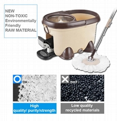 Microfiber Spin Floor Mop with Bucket 2 Heads Rotating 360 degree Easy Cleaning