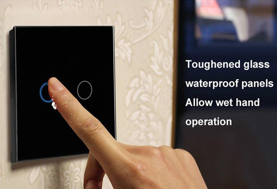 EU Standard Touch Switch Crystal Glass Switch Panel Single FireWire 2